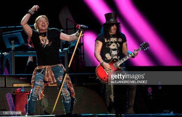 """Axl Rose and Slash of the band """"Guns N´ Roses"""" perform during the Vive Latino 2020 festival at the Foro Sol in Mexico City, on March 14, 2020. - The..."""