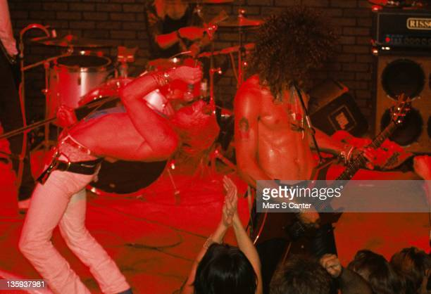 Axl Rose and Slash of the rock band Guns n' Roses perform onstage at the Troubadour where they played Rocket Queen for the first time on September 20...