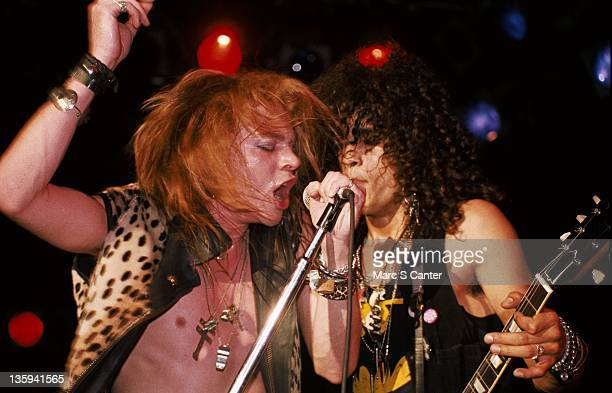 Axl Rose and Slash of the rock band 'Guns n' Roses' perform onstage at the Troubadour where they played 'My Michelle' for the first time on January 4...