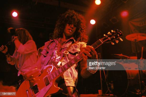 Axl Rose and Slash of the rock band 'Guns n' Roses' perform their first sold out show at The Troubadour on November 22 1985 in Los Angeles California