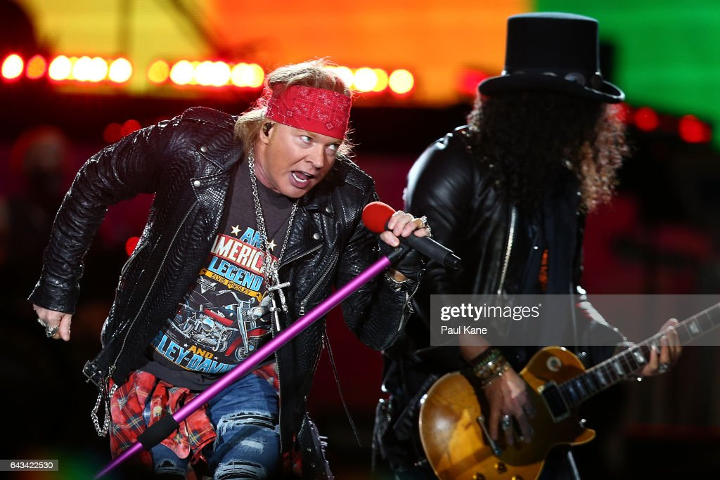 Axl Rose and Slash perfom on stage during the Guns N' Roses 'Not In This Lifetime' Tour at Domain Stadium on February 21, 2017 in Perth, Australia.
