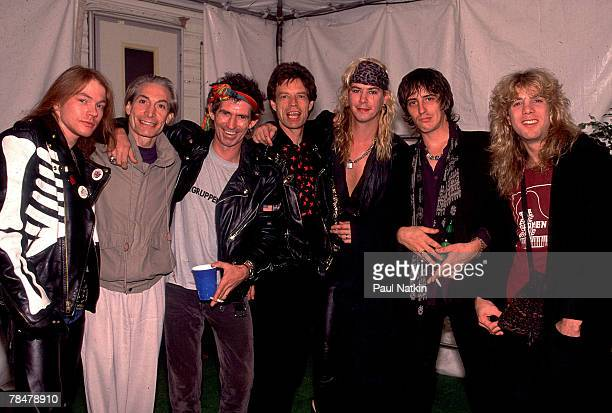 Axl Rose Charlie Watts Keith Richards Mick Jagger Duff McKagan Izzy Stradlin and Steven Adler on the Rolling Stones' Steel Wheels Tour in 1989 Los...