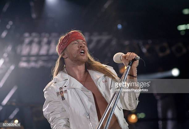 Axl Rose from Guns N' Roses performing on stage during the Freddie Mercury Tribute Concert for Aids Awareness at Wembley Stadium in London on the...