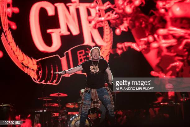 """Axl Rose lead singer of band """"Guns N´ Roses"""" performs during the Vive Latino 2020 festival at the Foro Sol in Mexico City, on March 14, 2020. - The..."""