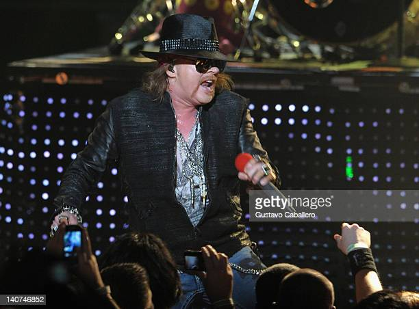 Axl Rose of Guns N' Roses perform at Fillmore Miami Beach on March 5, 2012 in Miami Beach, Florida.