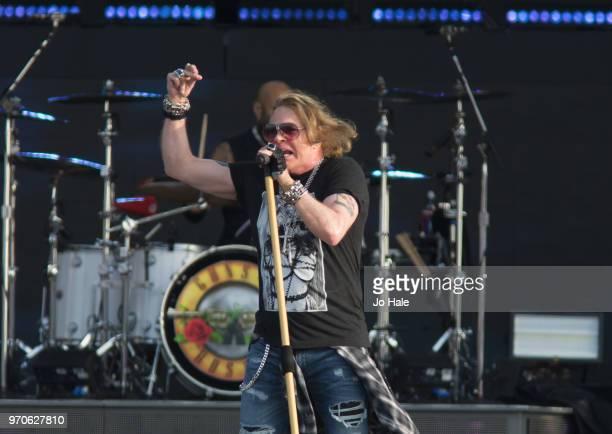 Axl Rose of Guns 'N' Roses performs at Donington Park on June 9, 2018 in Donington, England.