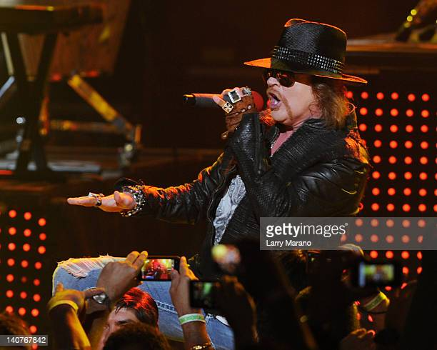 Axl Rose of Guns N' Roses performs at Fillmore Miami Beach on March 5, 2012 in Miami Beach, Florida.