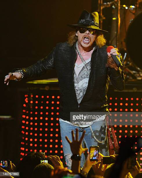 Axl Rose of Guns N' Roses performs at Fillmore Miami Beach on March 5 2012 in Miami Beach Florida