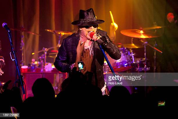 Axl Rose of Guns N' Roses performs at the DeLeon Tequila with Nur Khan Electric Session with Guns N' Roses at Hiro Ballroom at The Maritime Hotel on...