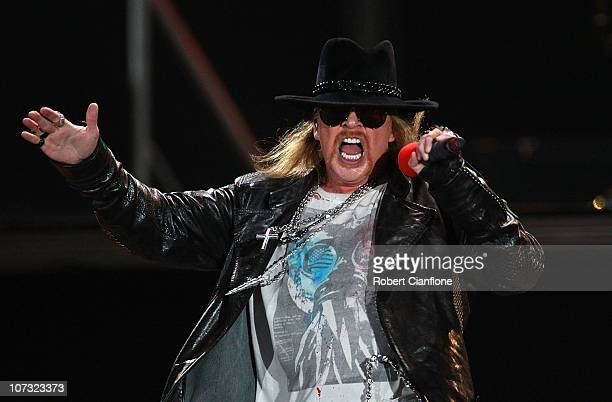 Axl Rose of Guns N' Roses performs following the V8 Supercar Grand Finale at ANZ Stadium on December 4 2010 in Sydney Australia