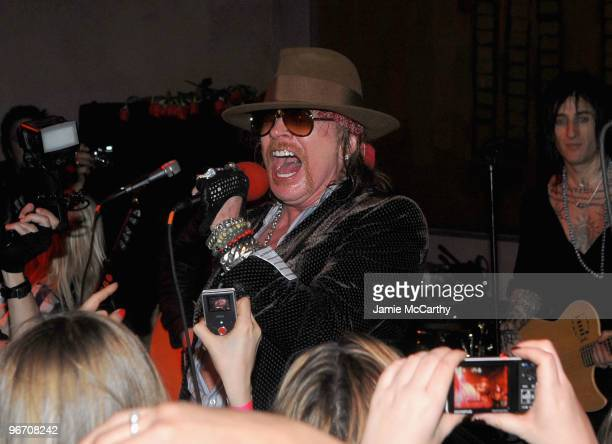 Axl Rose of Guns N' Roses performs Live At Nur Khan's Rose Bar Sessions presented by DeLeon Tequila at Gramercy Park Hotel on February 14 2010 in New...