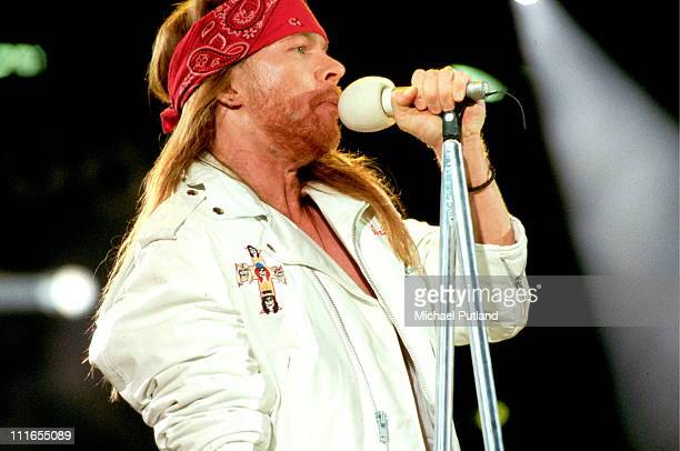 Axl Rose of Guns N' Roses performs on stage at the Freddie Mercury Tribute Concert, Wembley Stadium, London, 20th April 1992.