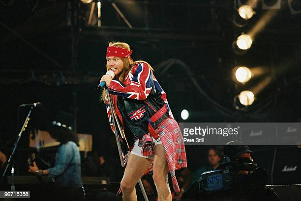 Axl Rose of Guns n Roses performs on stage at The Freddie Mercury Tribute Concert at Wembley Stadium on April 20th, 1992 in London, United Kingdom.
