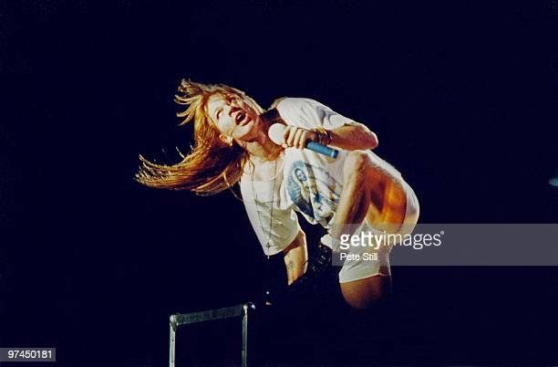 Axl Rose of Guns n' Roses performs on stage at Wembley Stadium on August 31st, 1991 in London, England.