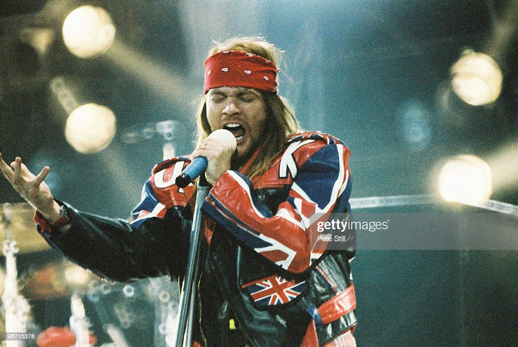 Axl Rose of Guns n Roses performs on stage on The Freddie Mercury Tribute Concert at Wembley Stadium on April 20th, 1992 in London, United Kingdom.
