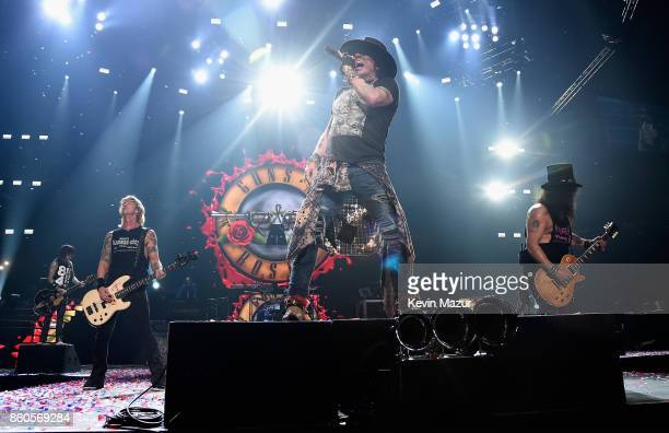 """Axl Rose of Guns N' Roses performs onstage during the """"Not In This Lifetime..."""" Tour at Madison Square Garden on October 11, 2017 in New York City."""
