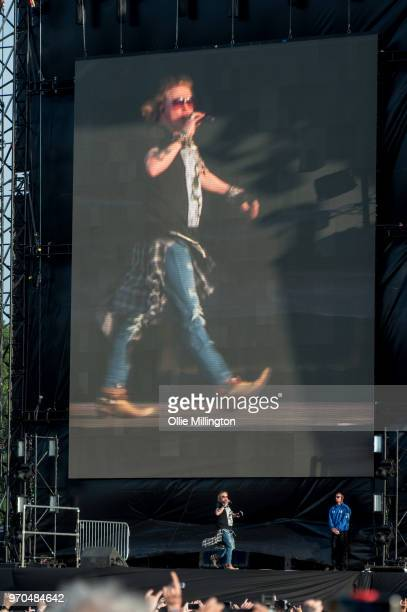 Axl Rose of Guns N Roses performs onstage on Day 2 of the Download Festival at Donington Park on June 9, 2018 in Donington, England.