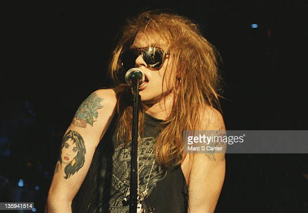 Axl Rose of the rock band 'Guns n' Roses' performs onstage at the Troubadour on the night that Tom Zutaut of Geffen Records was in attendance who...