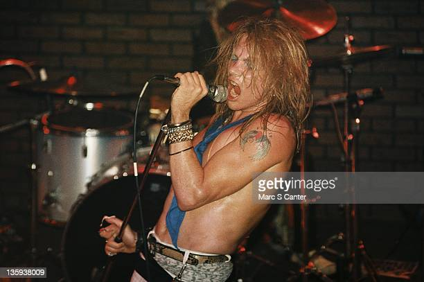 Axl Rose of the rock band Guns n' Roses performs onstage at the Troubadour where they played Rocket Queen for the first time on September 20 1985 in...