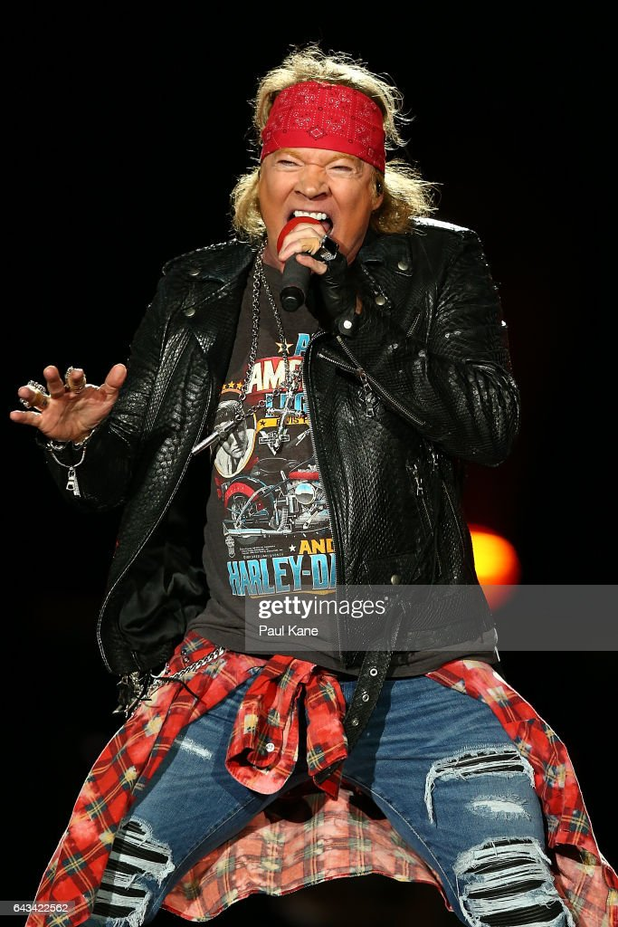Axl Rose perfoms on stage during the Guns N' Roses 'Not In This Lifetime' Tour at Domain Stadium on February 21, 2017 in Perth, Australia.
