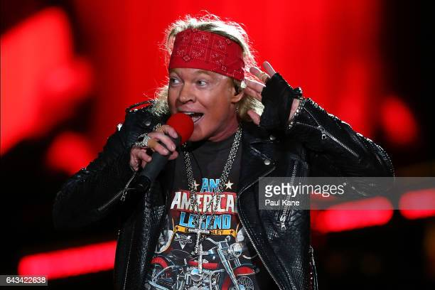 Axl Rose perfoms on stage during the Guns N' Roses 'Not In This Lifetime' Tour at Domain Stadium on February 21 2017 in Perth Australia
