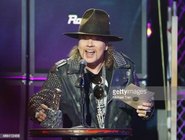 Axl Rose speaks onstage during the 6th Annual Revolver Golden Gods Award Show held at Club Nokia on April 23 2014 in Los Angeles California