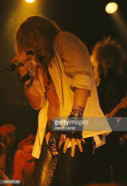 Axl Roser of the rock band 'Guns n' Roses' performs their first sold out show at The Troubadour on November 22 1985 in Los Angeles California