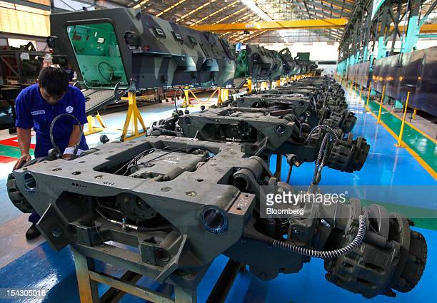 Axles for PT Pindad Anoa armored personnel carrier vehicles are laid out for assembly at the company's plant in Bandung Indonesia on Tuesday Oct 16...