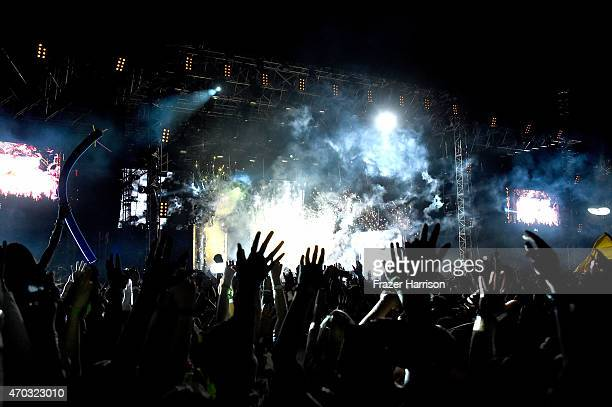 Axwell and Ingrosso perform onstage during day 2 of the 2015 Coachella Valley Music And Arts Festival at The Empire Polo Club on April 18 2015 in...