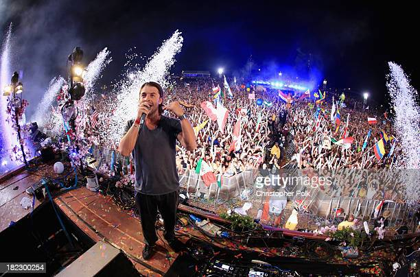 Axwell spins onstage at TomorrowWorld Electronic Music Festival on September 28 2013 in Chattahoochee Hills Georgia