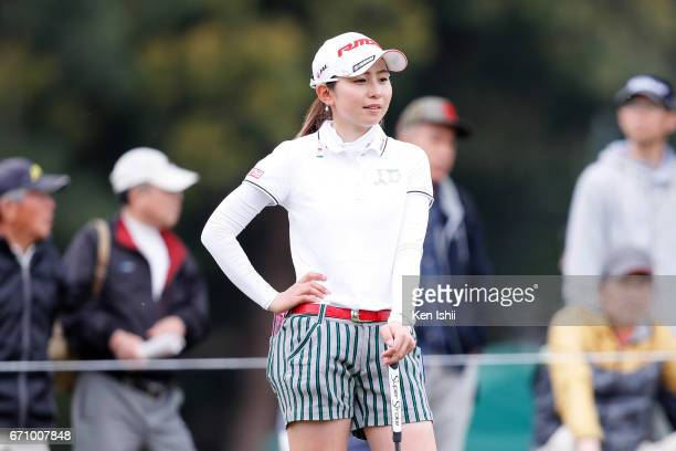 Aya Ezawa looks on on the ninth green during the final round of the Panasonic Open Ladies at the Chiba Country Club on April 21 2017 in Noda Japan