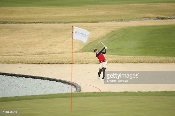 Aya Ezawa of Japan hits from a bunker on the 9th hole during the second round of the TPoint Ladies Golf Tournament at the Wakagi Golf Club on March...
