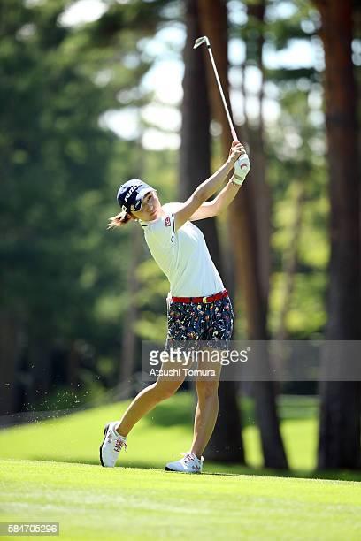 Aya Ezawa of Japan hits her second shot on the 18th hole during the second round of the Daito Kentaku Eheyanet Ladies 2016 at the Narusawa Golf Club...