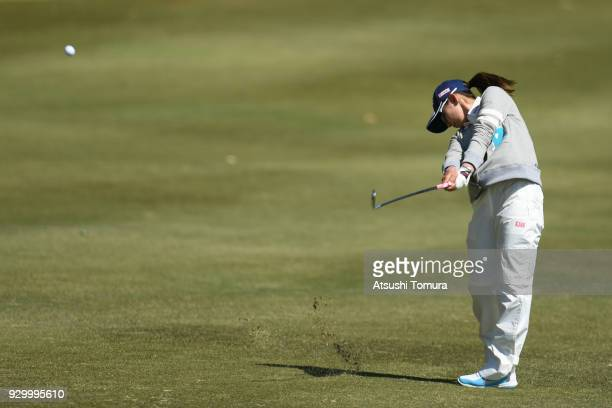 Aya Ezawa of Japan hits her second shot on the 18th hole during the second round of the Tokohama Tire PRGR Ladies Cup at Tosa Country Club on March...