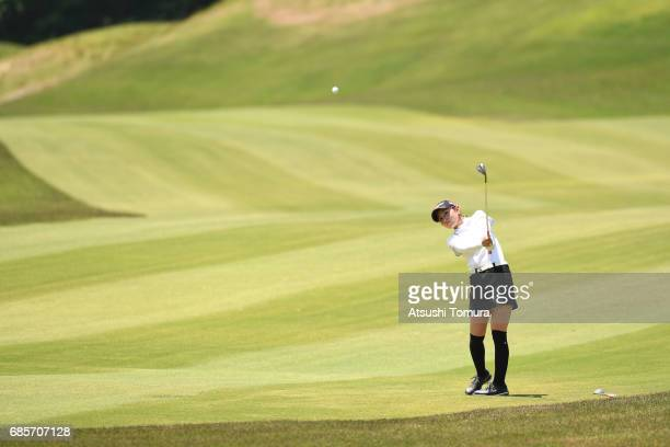 Aya Ezawa of Japan hits her second shot on the 8th hole during the final round of the Twin Fields Ladies Tournament at the Golf Club Twin Fields on...