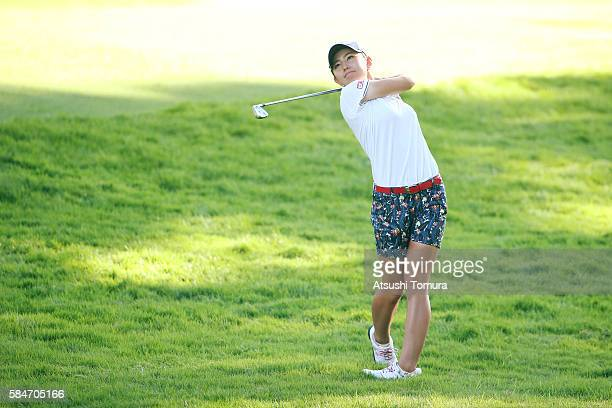 Aya Ezawa of Japan hits her second shot on the 9th hole during the second round of the Daito Kentaku Eheyanet Ladies 2016 at the Narusawa Golf Club...