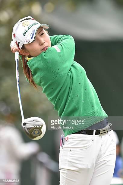 Aya Ezawa of Japan hits her tee shot on the 10th hole during the first round of the YAMAHA Ladies Open Katsuragi at the Katsuragi Golf Club Yamana...