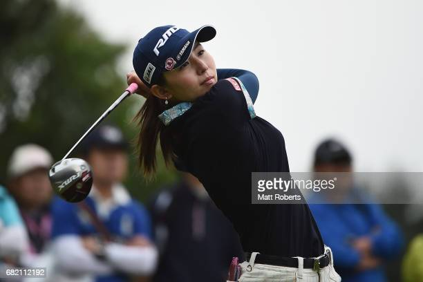 Aya Ezawa of Japan hits her tee shot on the 10th hole during the first round of the HokennoMadoguchi Ladies at the Fukuoka Country Club Wajiro Course...