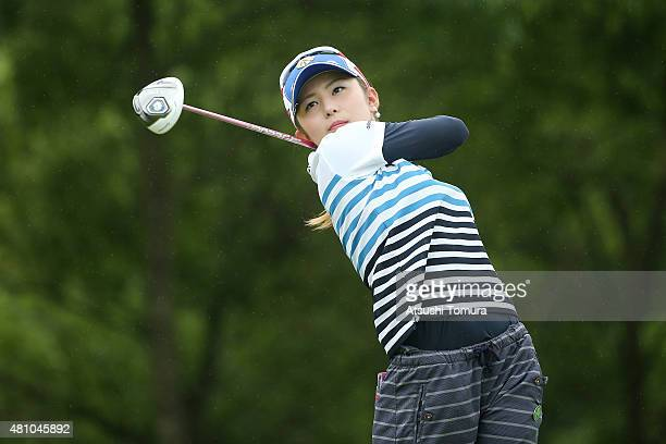 Aya Ezawa of Japan hits her tee shot on the 11th hole during the first round of the Samantha Thavasa Girls Collection Ladies Tournament 2015 at the...
