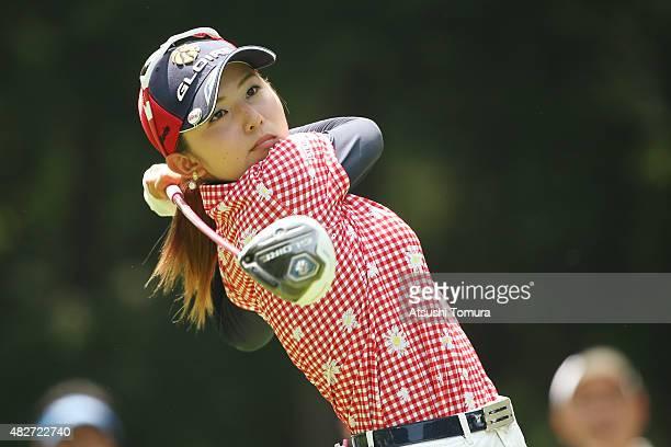 Aya Ezawa of Japan hits her tee shot on the 18th hole during the final round of the Daito Kentaku Eheyanet Ladies 2015 at the Narusawa Golf Club on...
