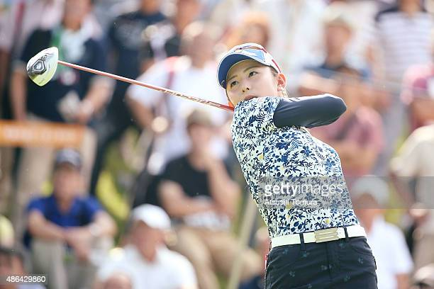 Aya Ezawa of Japan hits her tee shot on the 1st hole during the first round of the Golf 5 Ladies Tournament 2015 at the Mizunami Country Club on...