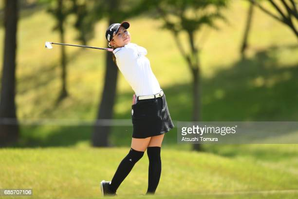 Aya Ezawa of Japan hits her tee shot on the 2nd hole during the final round of the Twin Fields Ladies Tournament at the Golf Club Twin Fields on May...