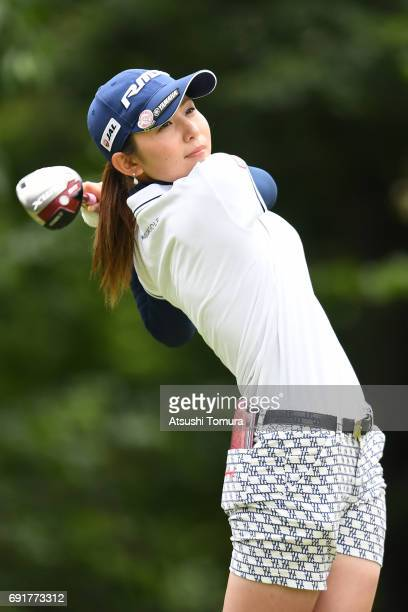 Aya Ezawa of Japan hits her tee shot on the 2nd hole during the final round of the Nichiiko Joshi Open at Yatsuo Country Club on June 3 2017 in...