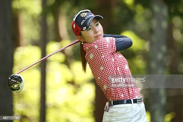 Aya Ezawa of Japan hits her tee shot on the 3rd hole during the final round of the Daito Kentaku Eheyanet Ladies 2015 at the Narusawa Golf Club on...