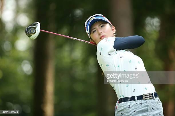 Aya Ezawa of Japan hits her tee shot on the 3rd hole during the second round of the Daito Kentaku Eheyanet Ladies 2015 at the Narusawa Golf Club on...