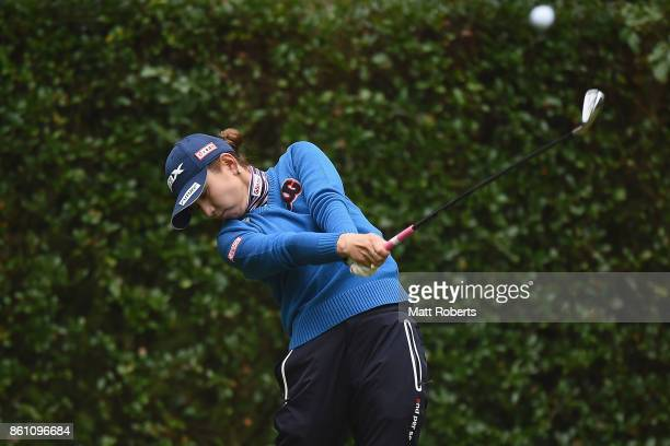 Aya Ezawa of Japan hits her tee shot on the 4th hole during the second round of the Fujitsu Ladies 2017 at the Tokyu Seven Hundred Club on October 14...