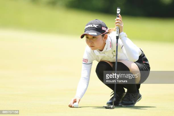 Aya Ezawa of Japan lines up her birdie putt on the 8th hole during the final round of the Twin Fields Ladies Tournament at the Golf Club Twin Fields...