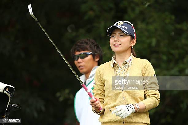 Aya Ezawa of Japan lines up her tee shot on the 12th hole during the first round of the Higuchi Hisako Ponta Ladies at the Musashigaoka Golf Course...