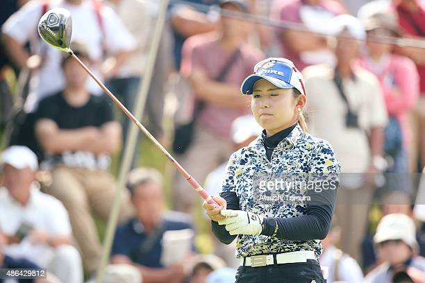 Aya Ezawa of Japan lines up her tee shot on the 1st hole during the first round of the Golf 5 Ladies Tournament 2015 at the Mizunami Country Club on...
