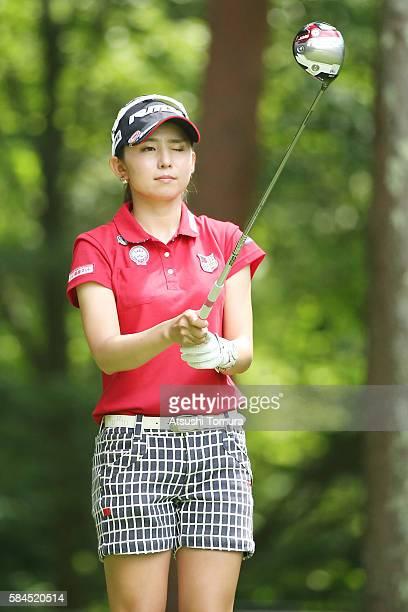 Aya Ezawa of Japan lines up her tee shot on the 3rd hole during the first round of the Daito Kentaku Eheyanet Ladies 2016 at the Narusawa Golf Club...